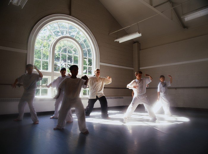 Boys Performing Tai Chi Together