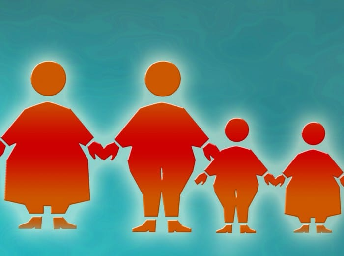 graphic illustration of a family of overweight or obese individuals