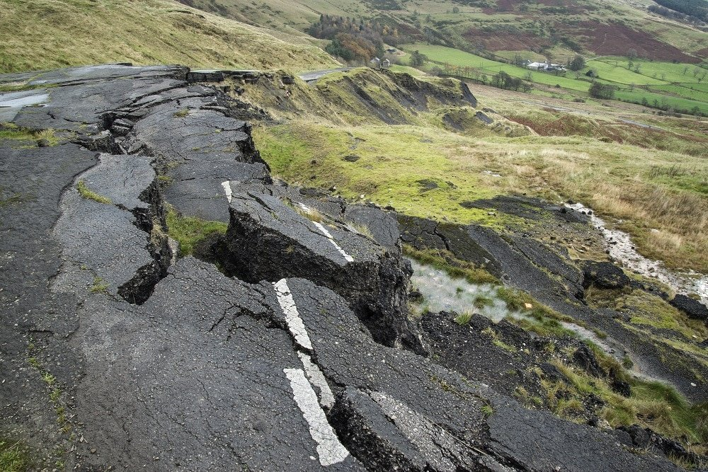 Collapsed A625 road in Peak District UK